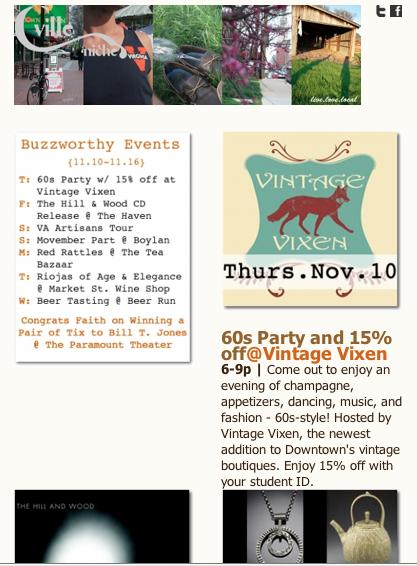 Cville Niche Buzz 11.10- 11.16