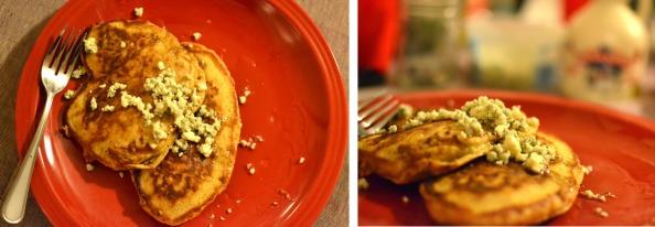 carmelized appl blue cheese pancakes