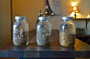 Jars of the 3 layers of soil