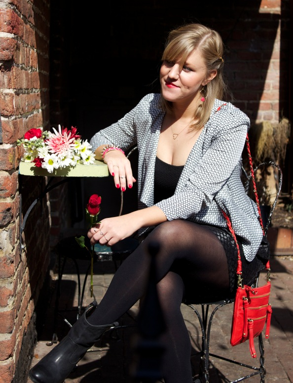 Linnea sitting with roses outfit 2