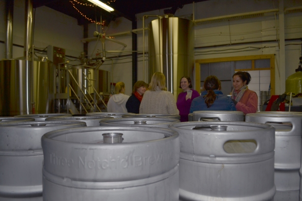 Brew Betties talk beer during their March 1 brew of Moon Sisters Maibock at Three Notch'd.