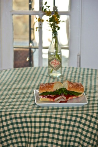 Full sized petit - Roasted strawberry, bacon, chèvre, and spinach sandwich