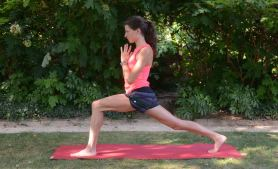 From the last pose: Release your top hand back to its original position on your mat. Press firmly into both soles of your feet to bring yourself up to a standing lunge.  Press your palms into prayer for support.  Like revolved lunge, keep reaching through your back heel.  Inhale to come back up.