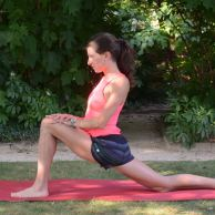 From the last pose: This time, carefully lower your back knee all the way and let it stay here. For support, bring both hands to your front leg just above your knee. Make sure your front ankle is right under this knee. Relax through your back quad to sink into the stretch. Keep the hand on the same side as your front leg placed on your knee; reach your opposite hand and arm up and over to the other side.
