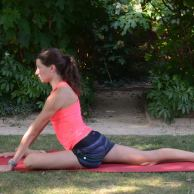 From the last pose: Moving either your palm, block/cushion, or elbow out of the way, heel-toe your foot across the front of your mat to drop to your shin. Keep in mind that the more parallel your shin is to the front of the mat, the deeper this hip stretch is. (You can modify this pose by angling your front foot towards the back of your mat so your knee is pointed forward.) Keep your foot slightly flexed here. Wherever you are in this pose, on the side of your body with the leg extending back: press the front of your hip down, so this hip is not popping up. Then, think of sending this hip slightly forward, the other hip slightly back like you're lining up your hips with a magnet. Once you are here, inhale yourself tall, and then exhale to walk your hands forward and fold.
