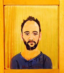 Portrait of Dave Matthews, Acrylic on Wood, Eliza Evans.