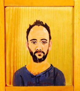 Portrait of Dave Matthews, Acrylic on Wood, Eliza Evans.
