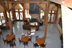 There is ample seating inside Bold Rock's new cider barn.