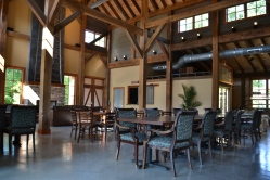 The dining room inside the barn.