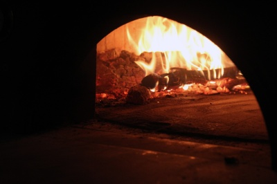 The crew at Lampo had to gradually heat up the brick oven by burning wood inside of it for two straight weeks, until the temperature reached 1,000 degrees.
