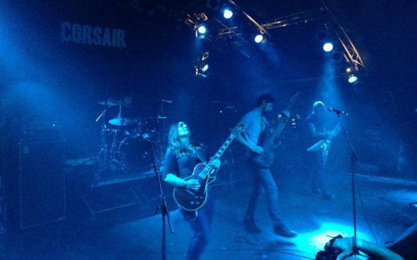 Landragin (front center) and Corsair play the Hell Over Hammaburg festival in Germany. Corsair played to a more than 1,000  unusually attentive fans at this show, and for Landragin, it was her most memorable gig yet. Photo by Ramon Claasson
