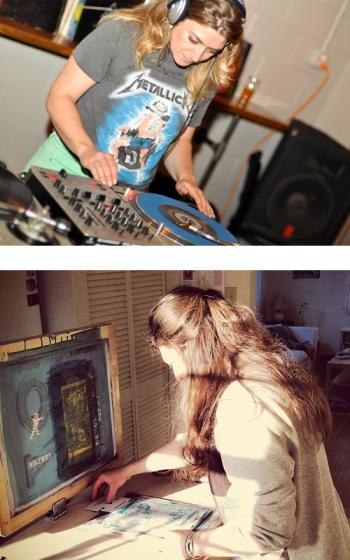 Landragin DJ-ing at Champion Brewery (top, photo by Brad Day); and screenprinting (bottom)
