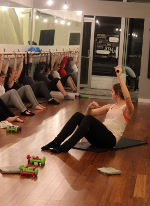 Now on to the core work. Hanna demonstrates round back at the barre.