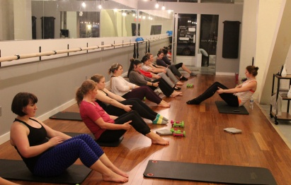 More core work, away from the barre.