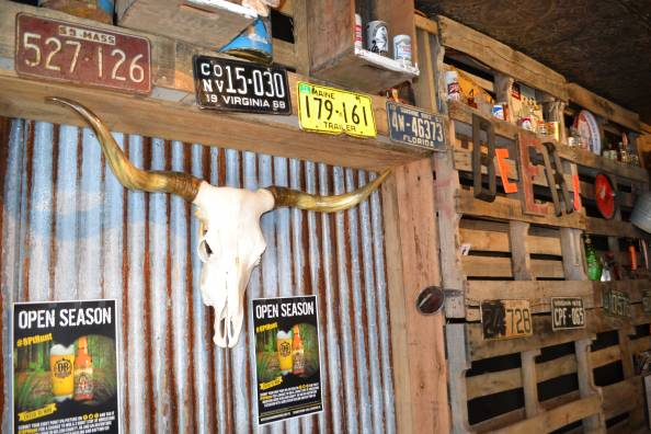 Jack Brown's Beer & Burger Joint is not the typical downtown restaurant. Animal skulls and license plates help create the bar's rustic interior.