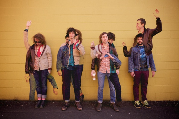 Y'ALL is: Christian Smith (tweed), Adam Wolcott Smith (blue button-down), Adam Brock (orange button-down, brown jacket), Jon Bray (jean jacket) / Photo by Tom Daly