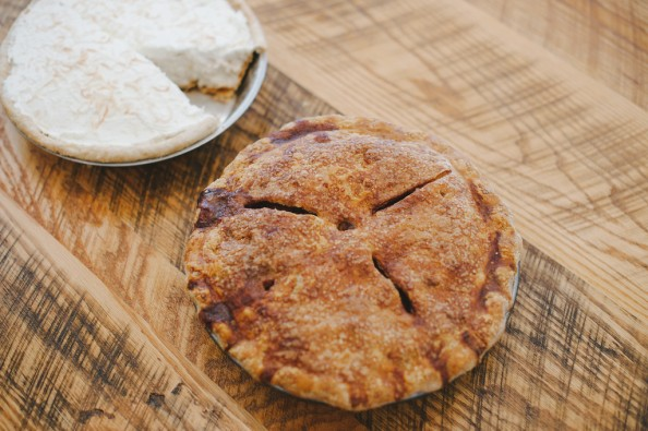Coconut cream and apple pies